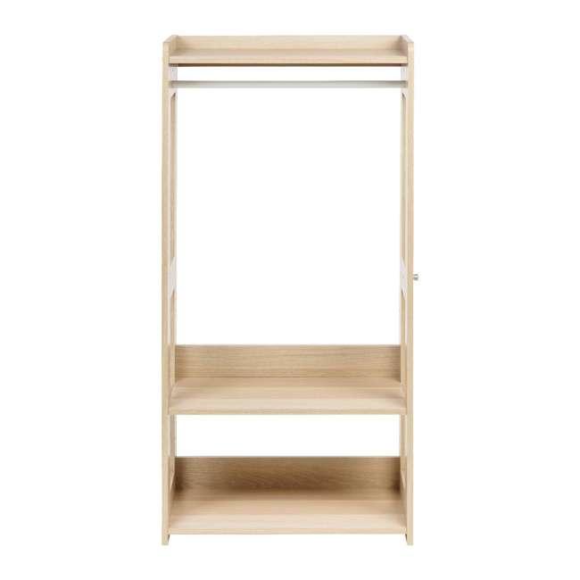 596285 IRIS 2 Shelf Compact Wood Garment Hanging Closet Clothing Clothes Rack, Brown 1