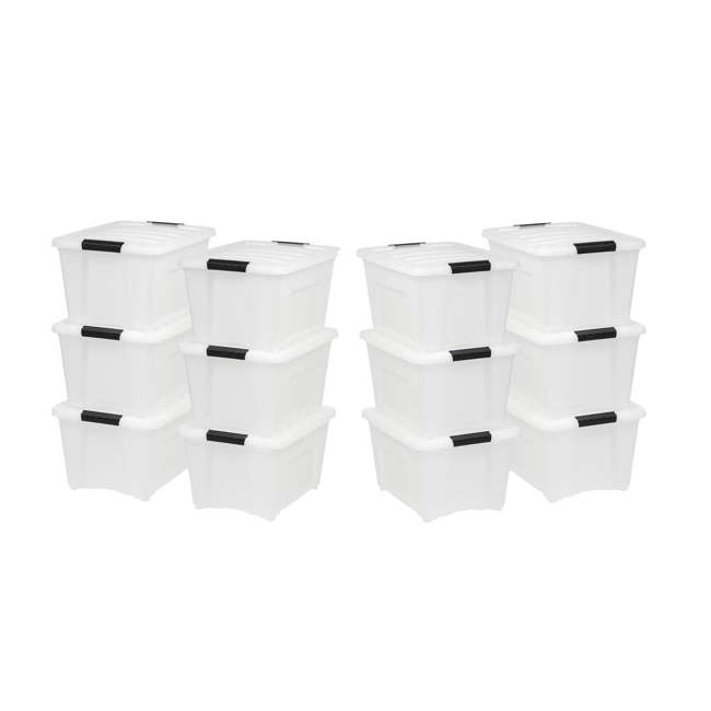 588248-6PK IRIS 32 Quart Stack and Pull Storage Container Box Bin System w/ Lids (12 Count)