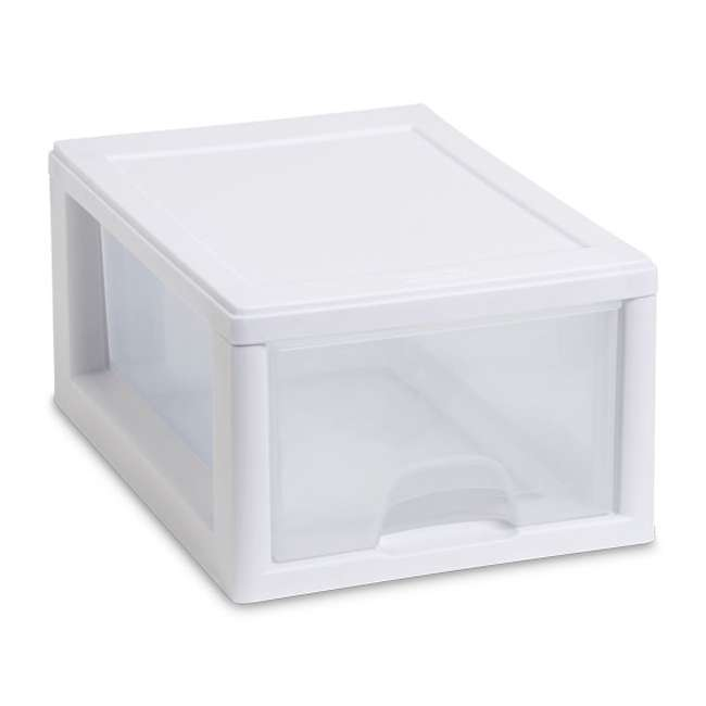 30 x 20518006-U-A Sterilite 20518006 Stackable Small Drawer White Frame (Open Box) (30 Pack) 1