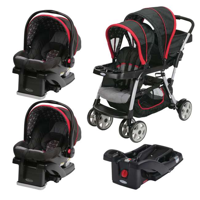 graco ready2grow double stroller with two car snugride car seats extra base marco 1934629. Black Bedroom Furniture Sets. Home Design Ideas