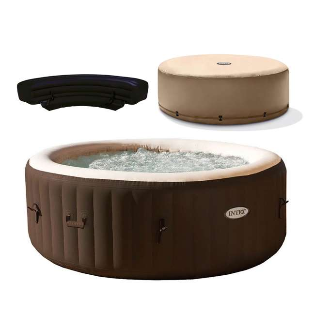 28403VM + 28523E + 28508E Intex PureSpa Bubble Massage 4 Person Inflatable Hot Tub w/ Cover & Bench Add On