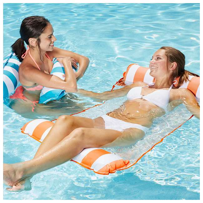 AQL10999 AquaLeisure 4-in-1 Monterey Hammock Swimming Pool Float, Orange/White Stripe 3