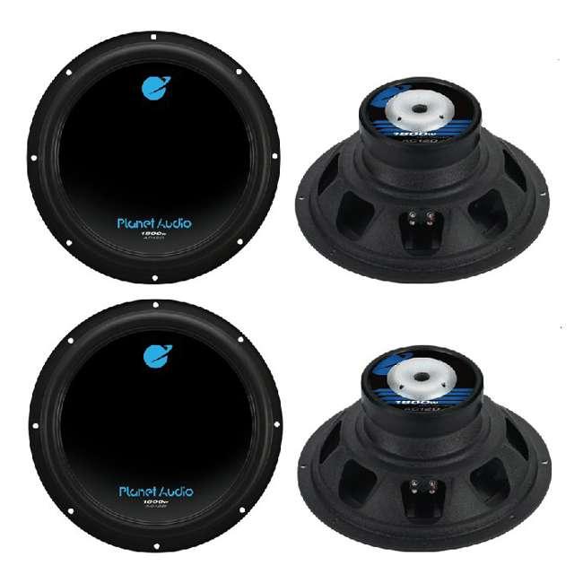 4 x AC12D Planet Audio AC12D 12-Inch 1800W Subwoofers (4 Subwoofers)