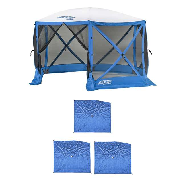 CLAM-ESS-14201 + CLAM-WP-ESS-14205 Clam Quick Set Tailgating Shelter + Wind & Sun Panels (3 pack)