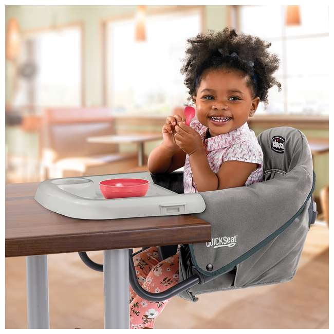 CHI-0607966621 Chicco QuickSeat Portable Folding Baby Hook On Table High Chair & Tray, Graphite 2