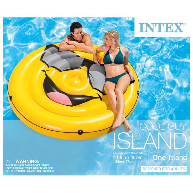 6 x 57254EP Intex Giant Inflatable Cool Guy Island Pool Float (6 Pack) 4
