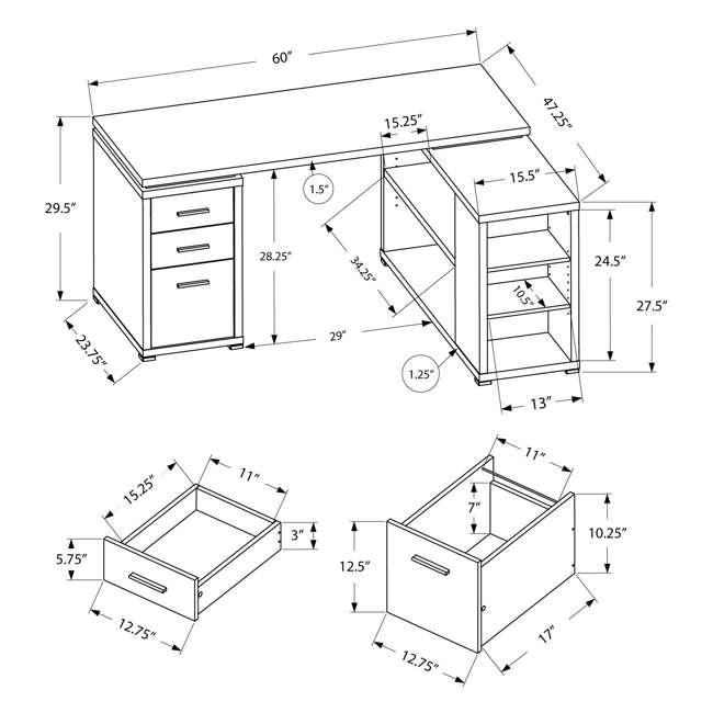"VM-7319-U-B Monarch 60"" L Shaped Corner Computer Desk with Drawers, Dark Taupe (Used) 4"
