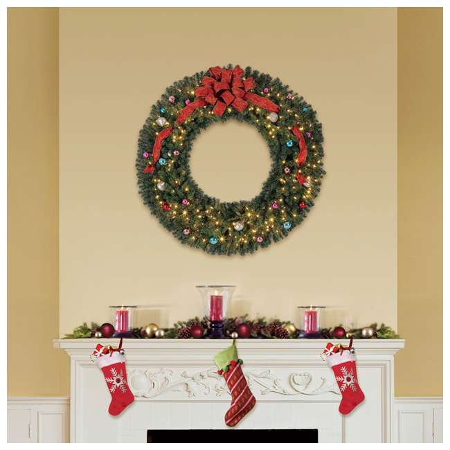 GD5000CYKD00 + TV70M2638C01 Home Heritage 60 Inch Christmas Wreath + 7' Pencil Artificial Christmas Tree 5
