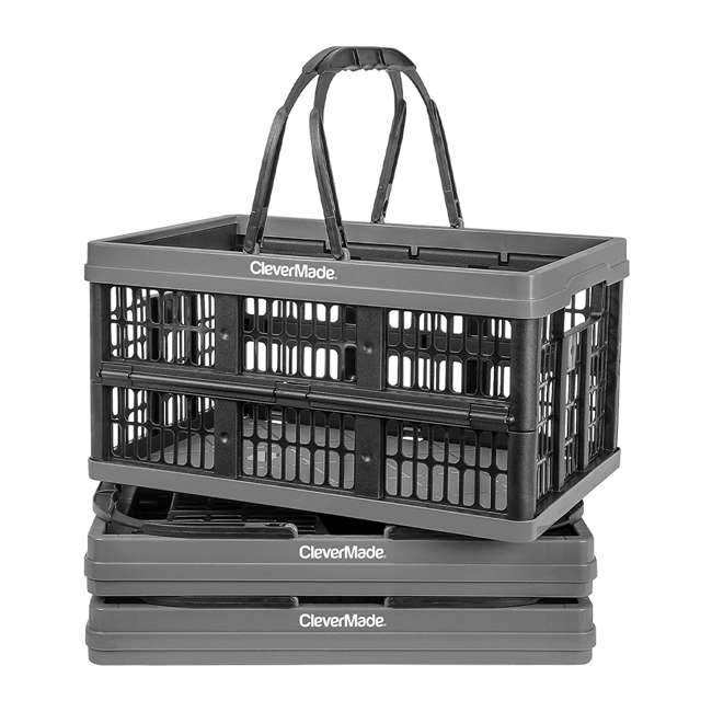 8031425-1533PK CleverMade CleverCrate 16 Liter Collapsible Shopping Basket, Charcoal (3-Pack)