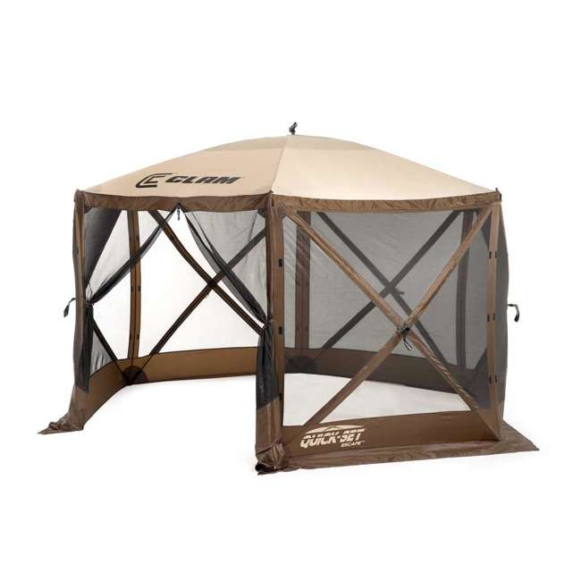 CLAM-ES-9879-U-C Quick-Set Escape Pop Up Camping Gazebo Canopy Screen Shelter, Brown (For Parts)