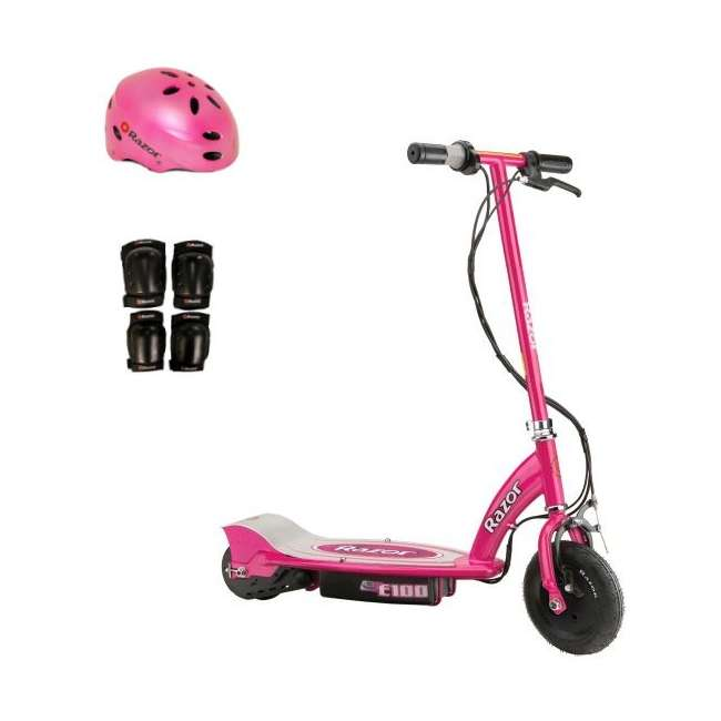 13111261 + 97783 + 96785 Razor E100 Electric Scooter (Pink) with Helmet, Elbow & Knee Pads