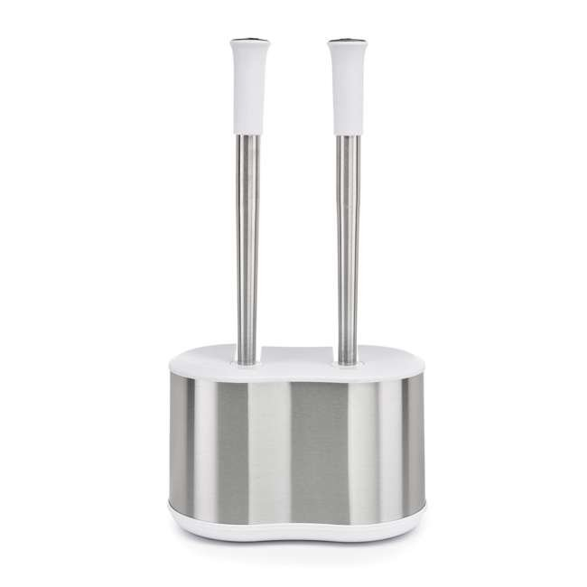 4 x BTH-6300-90 Polder Toilet Brush & Plunger Caddy, Stainless Steel & White (4 Pack) 2