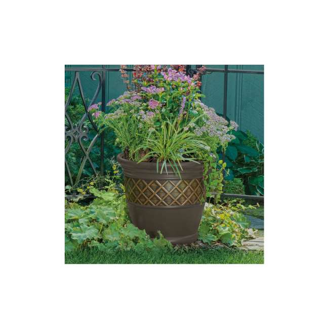 P181601E34 Atlin 18-Inch Resin Round Decorative Planter (2 Pack) 1