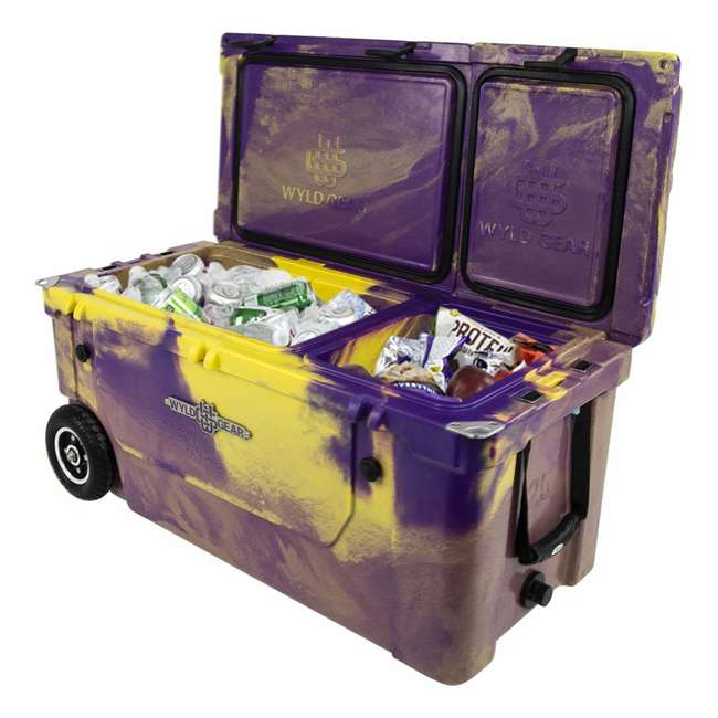 HC75-17PG WYLD 75 Quart Pioneer Dual Compartment Insulated Cooler w/ Wheels, Purple/Gold 2