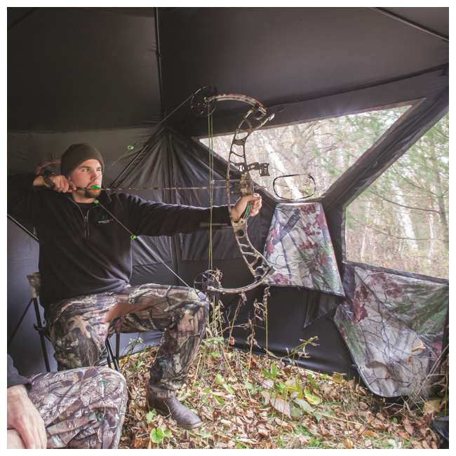 BARR-PT550BB Barronett Blinds Pentagon Pop Up Large Ground Hunting Hub Blind in Blades Camo 1
