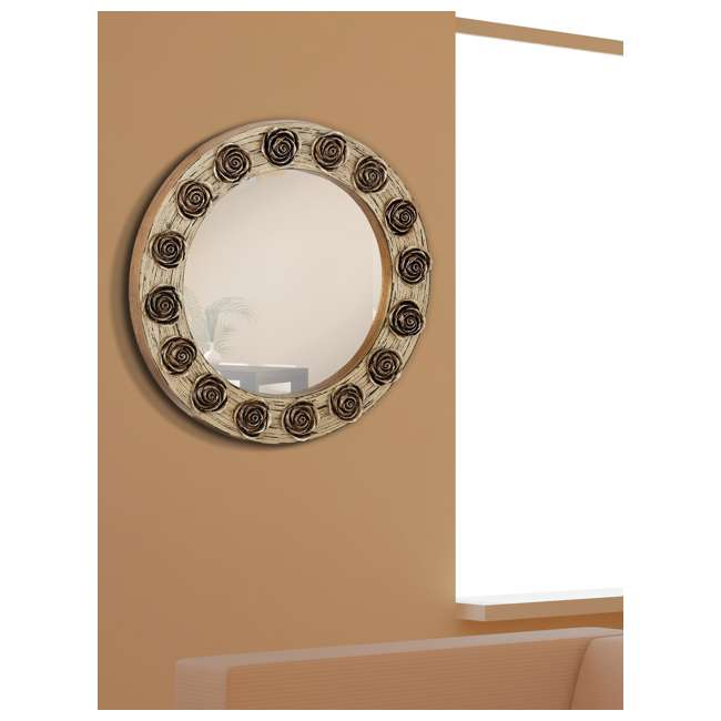 2486-P-U-A Majestic Mirror Round Wood Hanging Wall Mirror with Gold Roses Accent (Open Box) 2