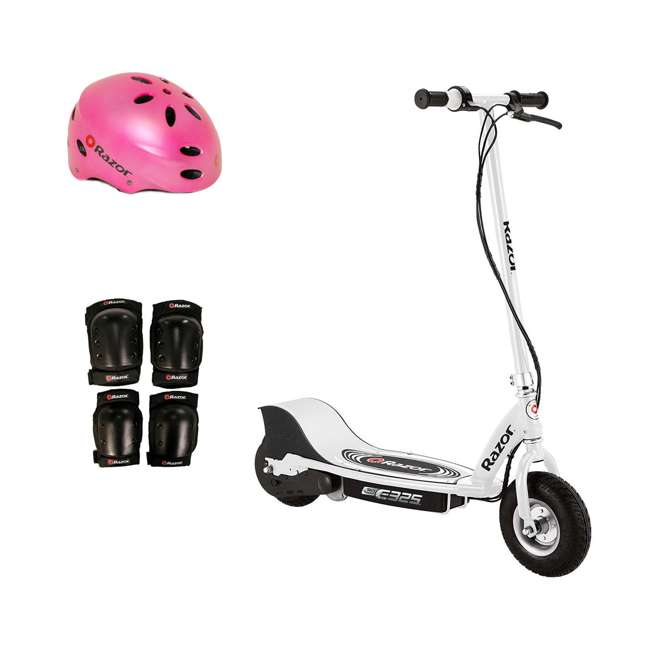 13116310 + 97783 + 96784 Razor E325 Electric Battery 24V Ride On Scooter, Helmet, & Elbow & Knee Pad Set