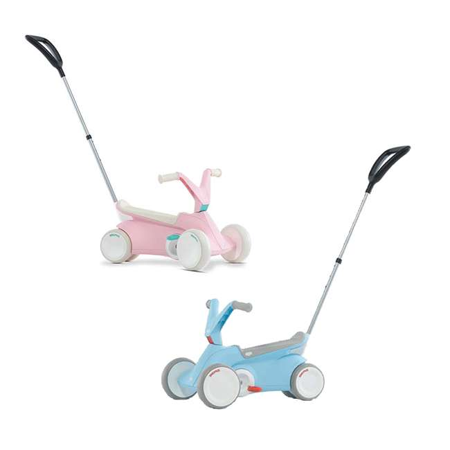 24.50.01.00 + 24.50.00.00 BERG Toys Pink and Blue GO2 2 in 1 Toddler Push and Pedal Small Go Karts Pair