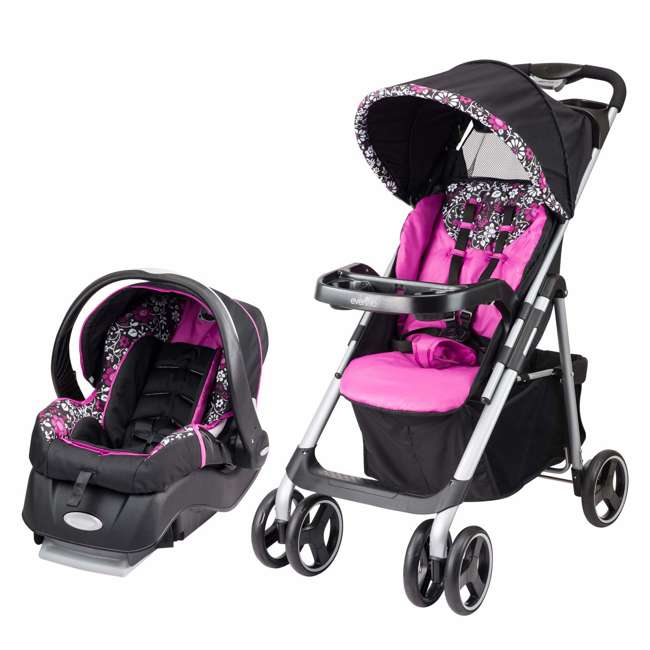 55411881 Evenflow Vive Baby Stroller & Embrace Infant Car Seat Travel System, Daphne