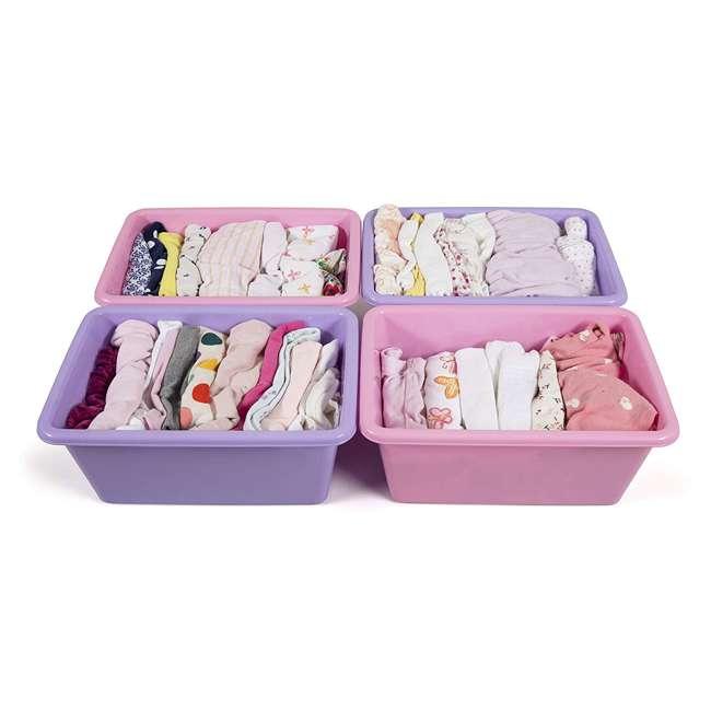 SM098 + SM111 Tot Tutors Plastic Storage Container Bins, Pink/Purple & Blue/Teal (Set of 8) 6