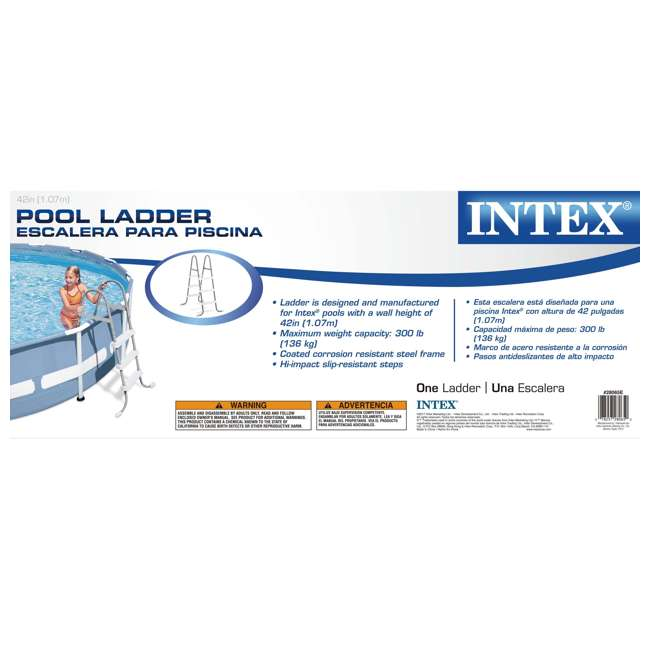 28065E + 87953 Intex Above Ground Steel Frame Pool Ladder 42-Inch + Protective Pool Ladder Mat 5