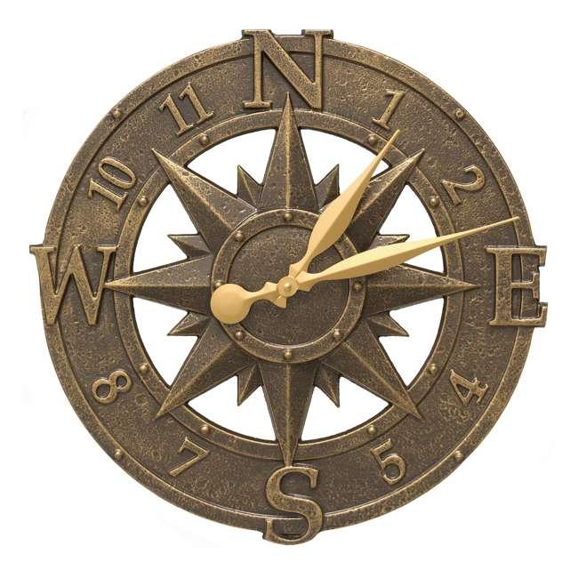 1173 Whitehall 1173 Indoor Outdoor Aluminum Alloy Nautical Compass Clock, Bronze
