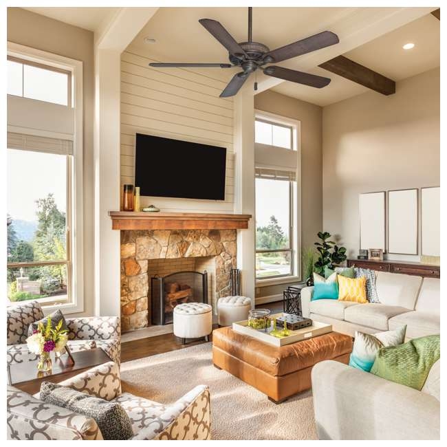 55002 Casablanca Ainsworth 60 Inch Indoor Ceiling Fan w/ Pull Chain, Provence Crackle 8