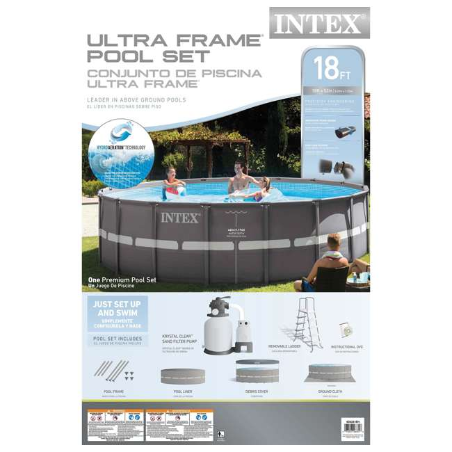 """26331EH + QLC-42003 Intex 18' x 52"""" Ultra Frame Above Ground Pool with Sand Pump & Chemical Cleaning Kit 6"""