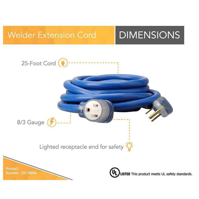 19178806-U-A Southwire 25-Foot STW Weather Resistant Extension Cord, Blue (Open Box) 1