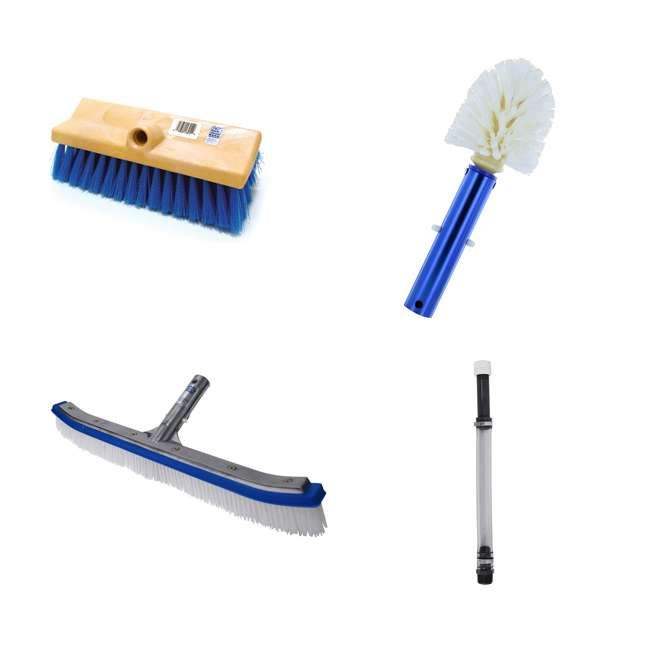 B3518 + B3525 + B3012 + 8358M Blue Devil 18 Inch Brush, 360 Brush, Deck and Acid Brush and Swimline Pool Pole