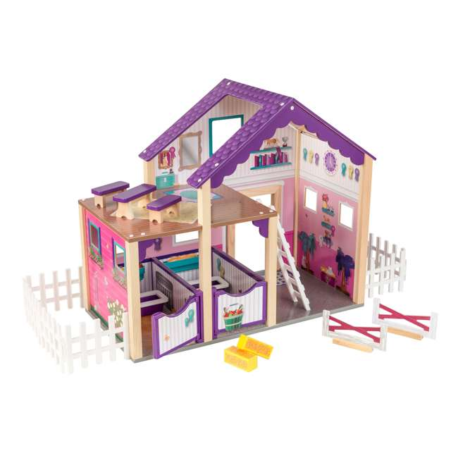 63602 KidKraft Kids Deluxe Toy Horse Stable Wooden Barn Doll House Play Set with Fence 9