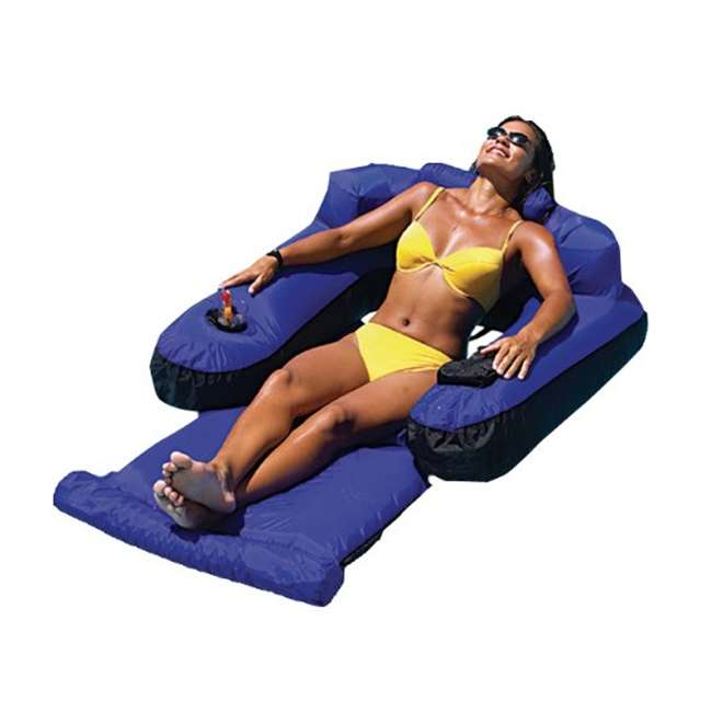 9047 + 58868EP Swimline Swimming Pool Inflatable Floating Lounger Chair & Recliner w/ Cup Holders 1
