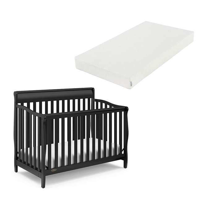 04530-66B + 06711-300 Graco Stanton 4-in-1 Convertible Crib in Black w/ Foam Mattress