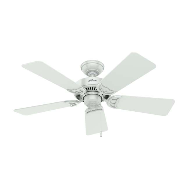 51005 Hunter 44 Inch Quiet Breeze Fresh White Ceiling Fan with Pull Chain and Light