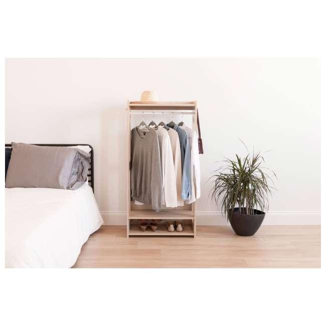 596285 IRIS 2 Shelf Compact Wood Garment Hanging Closet Clothing Clothes Rack, Brown 3