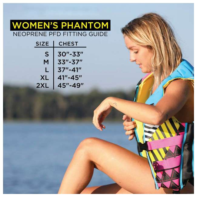16224W-BLKPNK-XL LNK1 - Body Glove Phantom USCGA Neoprene PFD Life Vest X-Large, Pink/Black 2