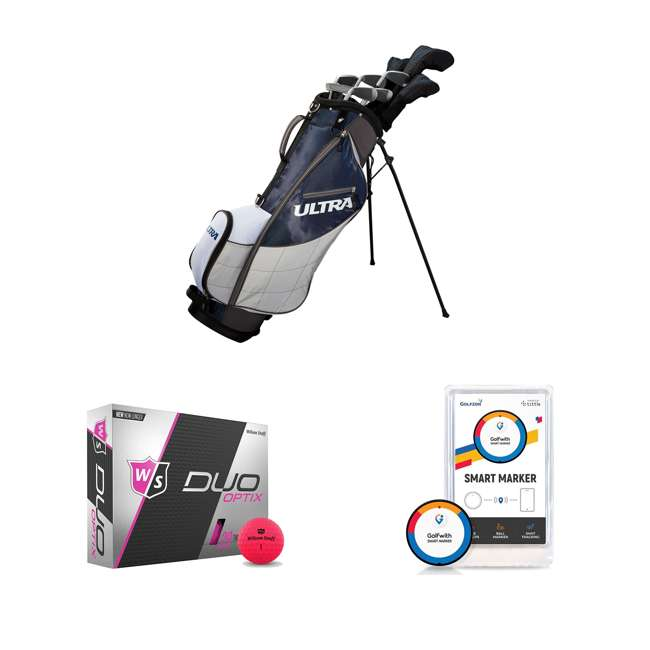 WGGC43600 + WGWP43500 + PGSMGps Wilson Men's Right-Handed Golf Clubs + Golf Balls + Golf Shot Distance Tracker