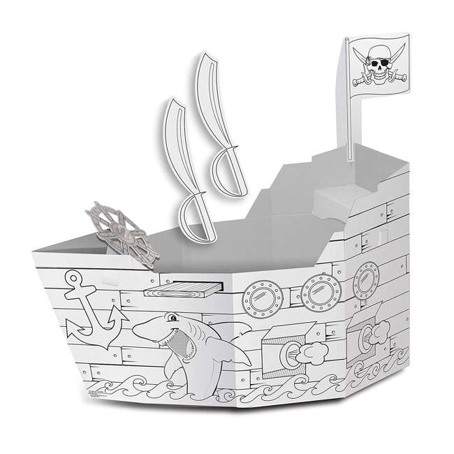 MP4428R My Very Own House Life-Size Coloring Playhouse Pirate Ship w/ 8 Jumbo Markers