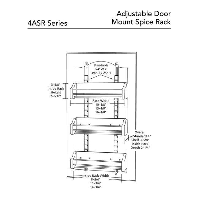 4ASR-15 Rev-A-Shelf 4ASR-15 Small Cabinet Door Mount Wood Adjustable 3-Shelf Spice Rack 5