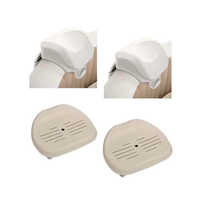 28505E + 2 x 28502E Intex PureSpa Headrest (2 Pack) & PureSpa Hot Tub Seat (2 Pack)
