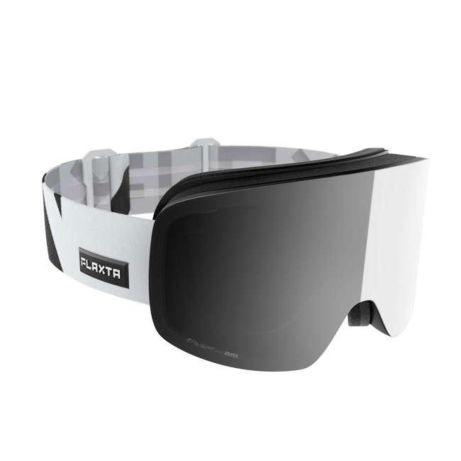 FX801202010ONE Flaxta FX801202010ONE Prime Ski & Snowboard Goggles, White with Silver Lenses