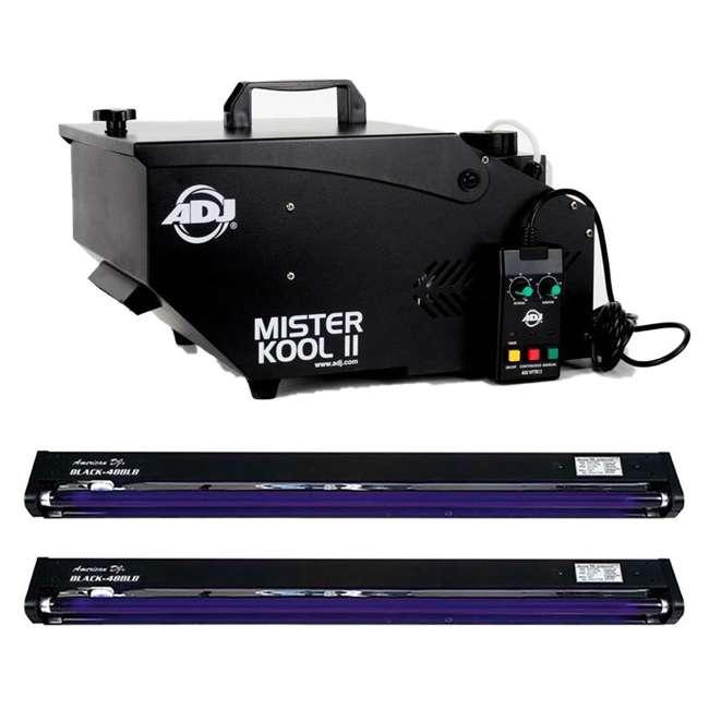 VF1100 + 2 x BLACK-48BLB American DJ 850W 1 Liter Fog Machine w/ 48 Inch UV Black Pro Black Light(2 Pack)