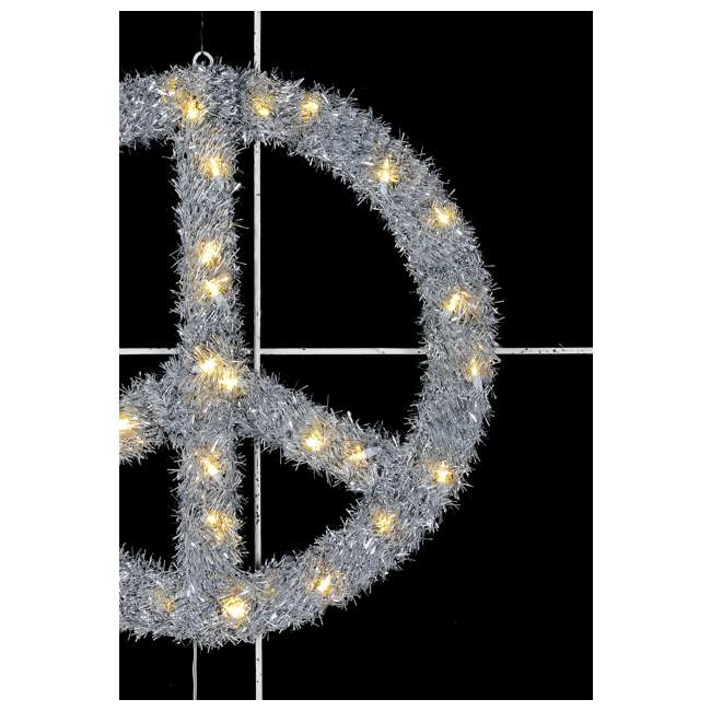 TR1AAB032L01 Home Heritage 22 Inch Pre Lit Artificial Holiday Christmas Peace Sign Wreath 2