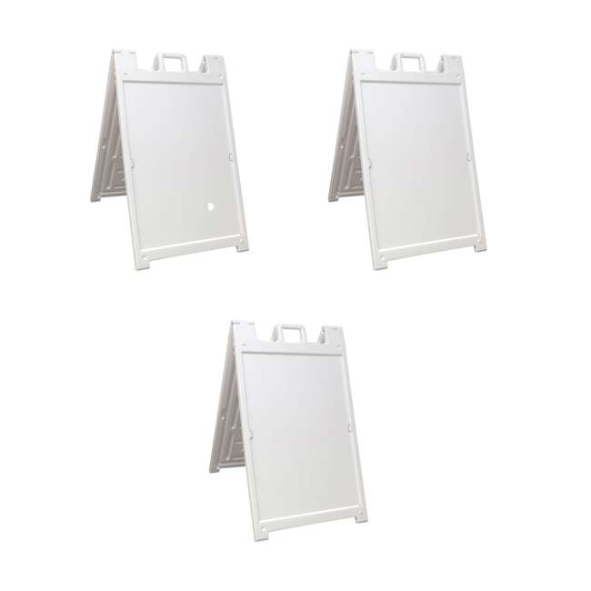 3 x 140NS Plasticade Deluxe Signicade Sign Stand, White (3 Pack)