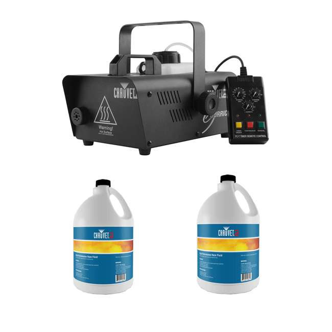H1600 + 2 x HFG-FLUID CHAUVET DJ Hurricane 1600 Fog Machine + HFG Water Based Smoke Fluid (2 Pack)