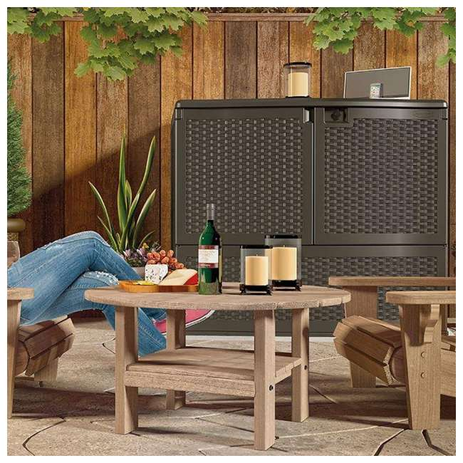 3 x VDB19500J Suncast 195 Gal Resin Wicker Patio Storage & Entertaining Station, Java (3 Pack) 2