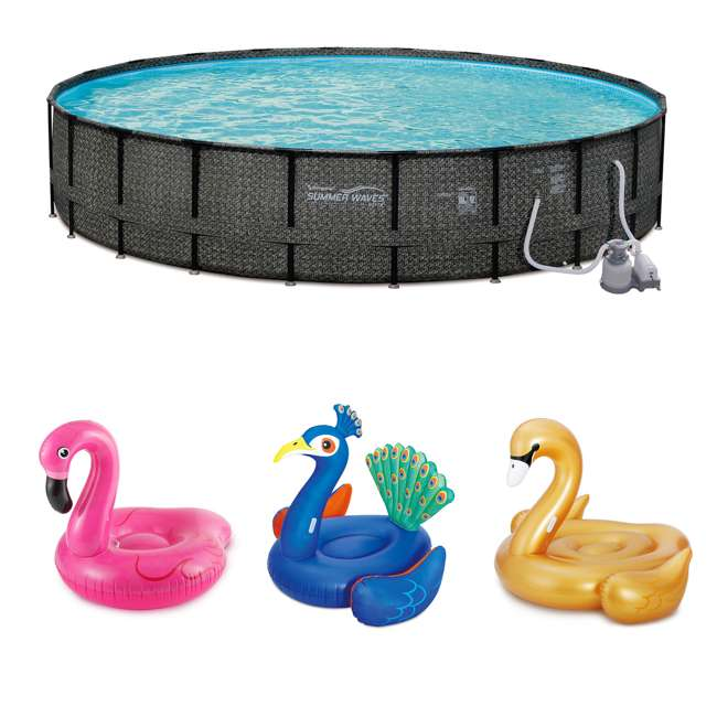 """P4A024521167+K50525000167+K50617000167 Summer Waves 24' x 52"""" Frame Pool Set + Pink Flamingo, Peacock and Swan Floats"""