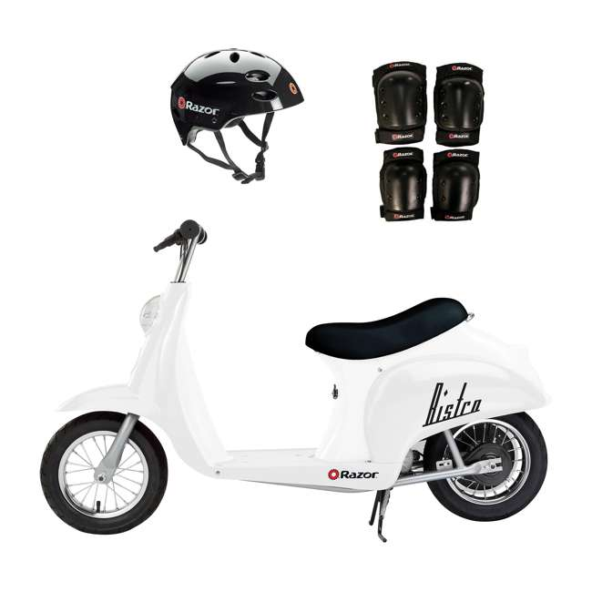 15130608 + 97778 + 96784 Razor Pocket Mod 24V Electric Retro Scooter, Kids Helmet, & Elbow & Knee Pads
