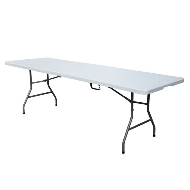 PDG-816 Plastic Development Group 816 8 Foot Fold In Half Folding Banquet Table, White 1