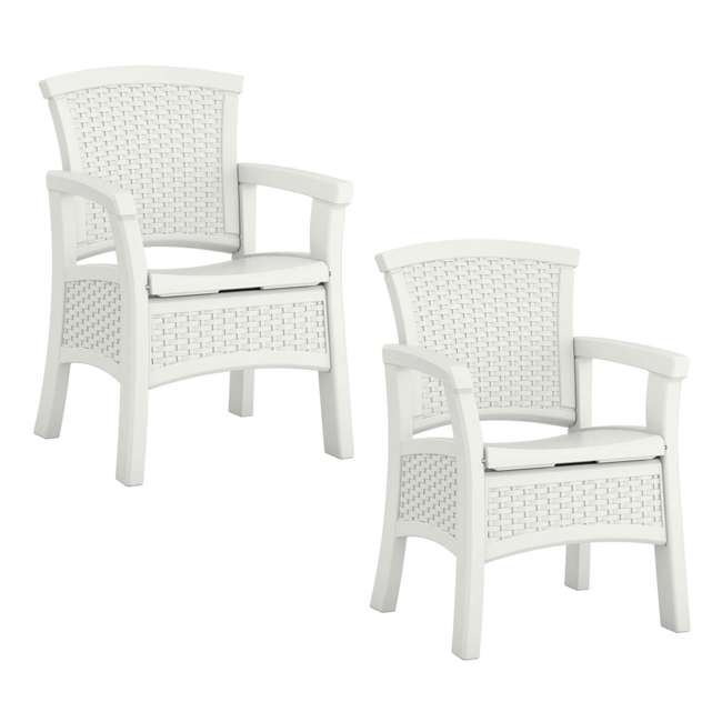 BMDC1400WD Suncast Elements Durable Outdoor Patio Dining Chair with Storage, White (2 Pack)